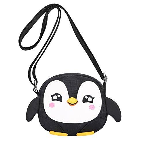 Kids Shoulder Bag Crossbody Purse Mini Cartoon Animal Preschool Messenger Handbag for Children Toddler Baby Girls Leekey (Penguin Black)