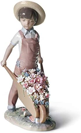 LLADR Wheelbarrow with Flowers Boy Figurine. Porcelain Children with Flowers Figure.