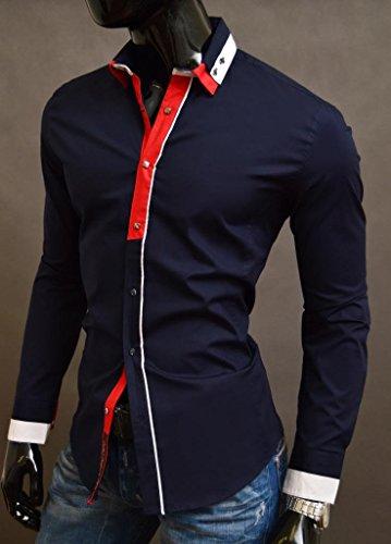 D&R Fashion Shirt uomini con il collare decorativo di fissaggio Classic e doppio polsini Design moderno Navy Blue