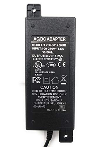 PS-48v60w | 48 Volt 60 Watt 1.25 Amp Power Supply with UL and FCC Approvals, 2.1mm x 5.5mm DC Connector for POE Injectors ()