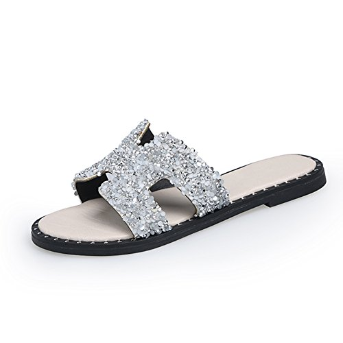 sandalias Silver Plata Qidi Plata Mujer Zapatillas color Antideslizante Fondo Negro Eu36 uk3 Tamaño Plano La 5 dZ44rxn