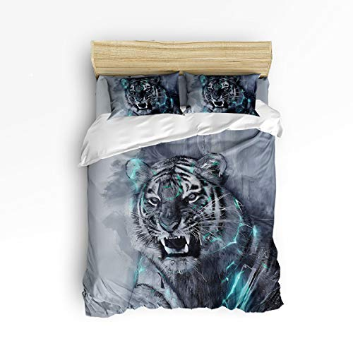 Bilagawa 4 Piece Luxury Duvet Cover Set Include 1 Comforter Cover 1 Bed Sheets 2 Pillow Cases,Hand Painting Tiger with Sharp Teeth Animal Printed Bed Sheet Set Bedding Sets,King Size