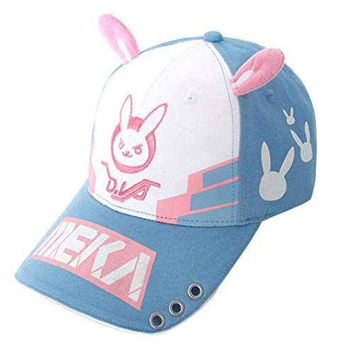 Wish Costume Shop Bunny Ear Baseball Cap Dva Lovely Cosplay Accessory Hat (Blue, One Size)