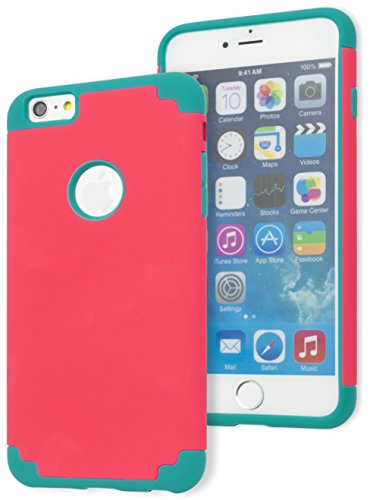iPhone 6 / 6s Plus Case, Bastex Hybrid Slim Fit Teal Rubber Silicone Cover Hard Plastic Hot Pink Case for iPhone 6 Plus, 6s Plus
