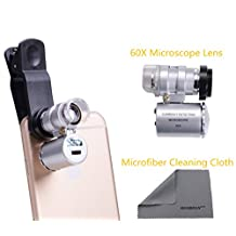 WONBSDOM Univsersal 60X Zoom LED Clip-On Microscope Lens+Microfiber Cleaning Cloth for iPhone/4S/5/5S/5C/SE/6/6S Plus/7/7 Plus iTouchs&iPads series Samsung GalaxyS4/S5/S6/S7 Note 2/3/4/5/6 HTC Nokia Sony,BlackBerry etc.