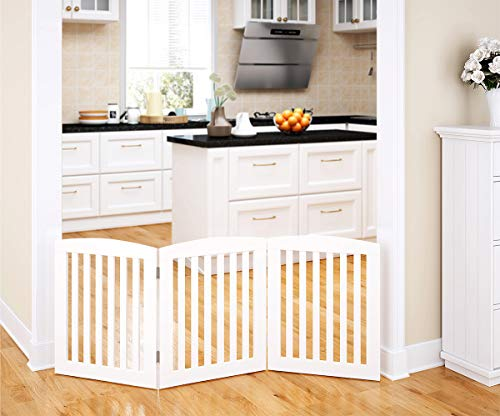- PAWLAND Wooden Freestanding Foldable Pet Gate for Dogs, 24 inch 3 Panel Step Over Fence, Dog Gate for The House, Doorway, Stairs, Extra Wide, White