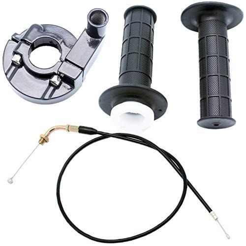QAZAKY Twist Throttle Accelerator Handle Grip Cable Set for Pit Dirt Mini Pocket 4-stroke Bike Quad ATV 50cc 60cc 66cc 90cc 110cc 125cc 140cc 7/8