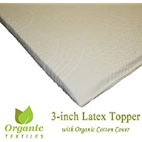 100%Organic Latex Mattress Topper 3 inches Medium Firm (King Organic Cotton Covered)