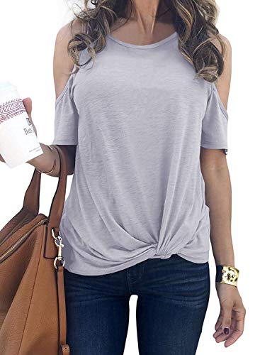 Ladies Tops Cold Shoulder Loose Fit Women Round Neck Short Sleeve Tees Plain Gray XXL ()