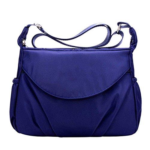 Donne Borse A Spalla Casual Impermeabile In Nylon Multi Tasche Borse,Blue-OneSize