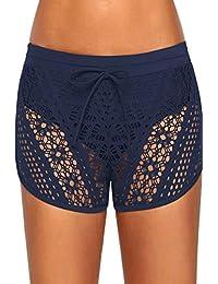 Zonsaoja Women Swim Bottom Beach Shorts Hot Pants Lace Hollow Quick Dry