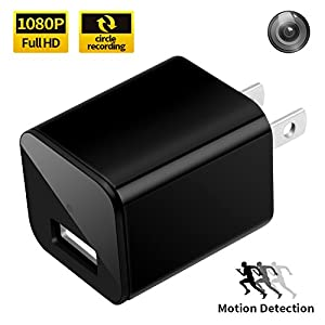USB Charger Camera, VOOPII 1080P HD Nanny Cam Motion Detection Wall Charger Camera Support Up To 32GB Micro SD Card(Not Include)