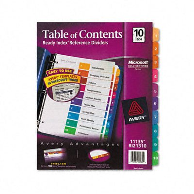 Ready Index Contemporary Table of Contents Dividers in Multi [Set of 2] (Index Pack)