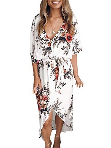YOINS Women Random Floral Print Casual Loose Split Plain Maxi Dresses A-White Floral S
