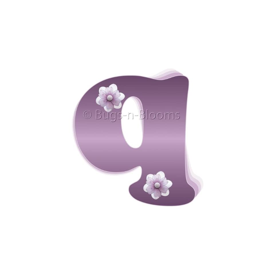 Wall Letters q Purple Flower Letter Stickers Alphabet Initial Vinyl Sticker Kids Decals Children Room Decor Baby Nursery Girl Bedroom Decorations Child Names Personalized Decal Graphic Daisy Flowers