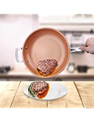 Flamingo Saucepan non-stick copper frying pan ceramic induction skillet copper red pan saucepan oven