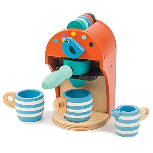 (Tender Leaf Toys Wooden Toy Espresso Machine - Pretend Food Play Toy Coffee Machine with Capsules, Cups and Milk Jug - Encourages Imaginative Play, Roleplay and Communication Skills - 3 Years +)
