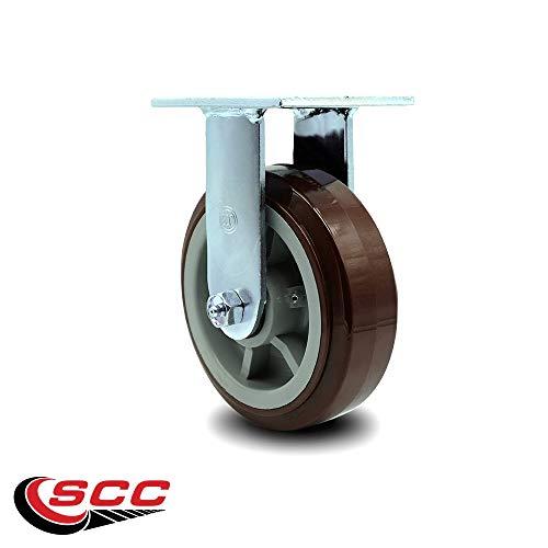 Service Caster - 6'' Heavy Duty Polyurethane Wheel Caster Set of 4 - with 2 Rigid/2 Swivel w/Top Locking Brakes - Non Marking - 750lbs/caster by Service Caster (Image #4)