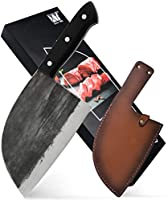 XYJ Full Tang Butcher Knife Handmade Forged Kitchen Chef Knife High Carbon Clad Steel Butcher Cleaver with Leather Knife...