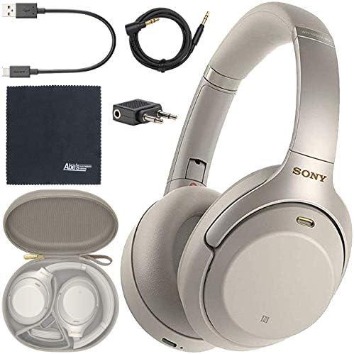 Sony WH-1000XM3 Wireless Noise-Canceling Over-Ear Headphones (Silver) WH1000XM3/S + AOM Bundle – International Version (1 Year AOM Warranty)
