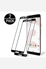 Google Pixel 3 Tempered Glass Screen Protector. Qalaxy [2-Pack] with 9H Hardness Protector Film [HD Clear][Anti-Scratch] [Anti-Bubble] [Case Friendly] Compatible Google Pixel 3 [Black] Hardcover