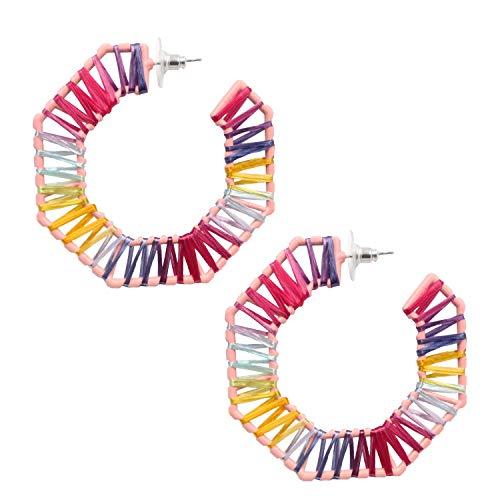 MEYFANCY Rainbow Earrings Octagon Earrings Geometric Earrings (Multicolored Diamond)