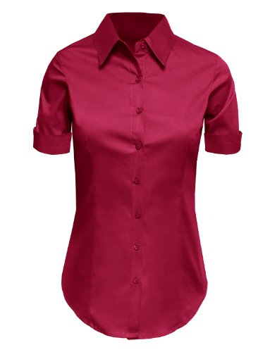 LE3NO Womens Tailored Short Sleeve Button Down Shirt with Stretch