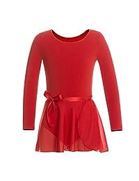 MAGIC TOWN Leotard Long Sleeve Wrap-Round Skirt Girls Dance Gymnastics Cotton Dress