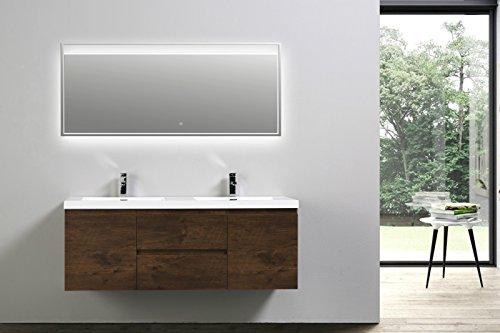 [Moreno MOB Rose Wood Wall Mounted Modern Bathroom Vanity with Acrylic Sink (60 inch double sink)] (Drawers Double Sink Vanity)