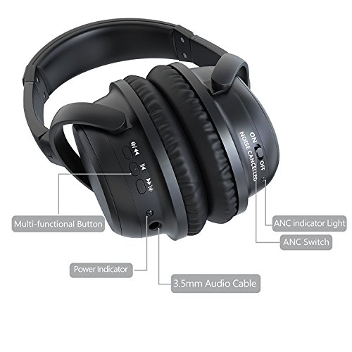 ALZN Active Noise Cancelling Bluetooth Headphones, Wireless Over-ear