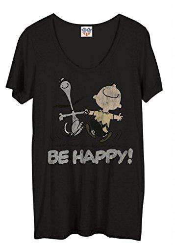 Junk Food Peanuts Be Happy Juniors Blackwash T-Shirt (Adult Medium) from Junk Food