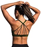 icyzone Padded Strappy Sports Bra Yoga Tops Activewear Workout Clothes Women (M, Army)