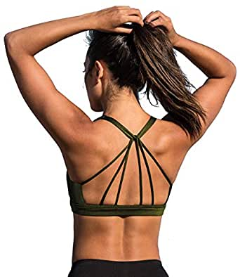 icyzone Padded Strappy Sports Bra Yoga Tops Activewear Workout Clothes for Women (S, Army)