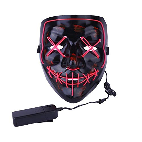 ULIN Frightening Wired Halloween Mask Cosplay LED Light up Mask for Festival Party Costumes (Red)