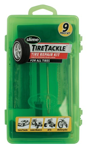 Plug Tire Repair (Slime 20133 Tire Repair Tackle Kit (9-Piece Set))