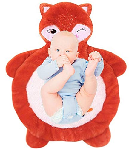 Plush Tummy Time Mat Fox, Non-Slip Stuffed Animal Baby Mat for Crawling at Floor, Super Soft and Comfortable Infant Floor Mat, Size 33x27.5in, White