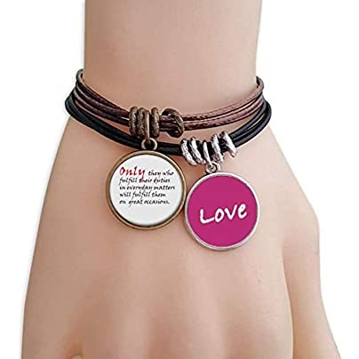 Metftus Quote Should Fulfill Our Duties Daily Life Love Bracelet Leather Rope Wristband Couple Set Estimated Price -