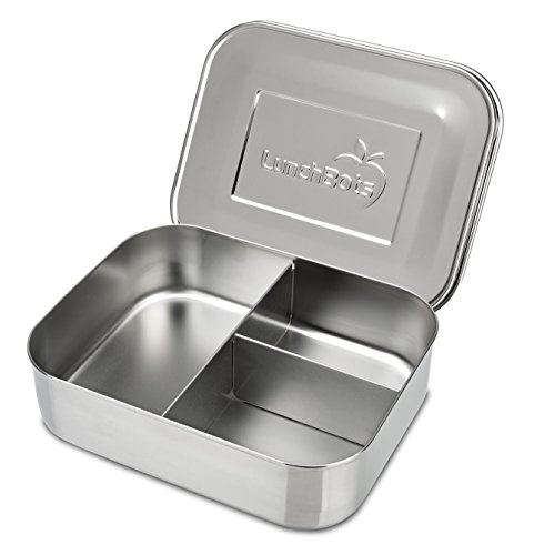LunchBots Medium Trio II Snack Container - Divided Stainless Steel Food Container - Three Sections for Snacks On the Go - Eco-Friendly, Dishwasher Safe, BPA-Free - Stainless Lid - All Stainless ()
