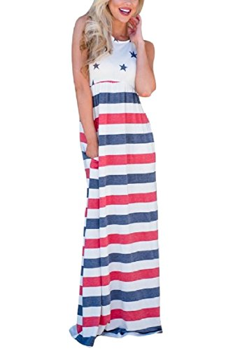 Smocked Maxi 1 Waist Coolred Printed Women 4th Dress Flower July Stylish g4wxI8a