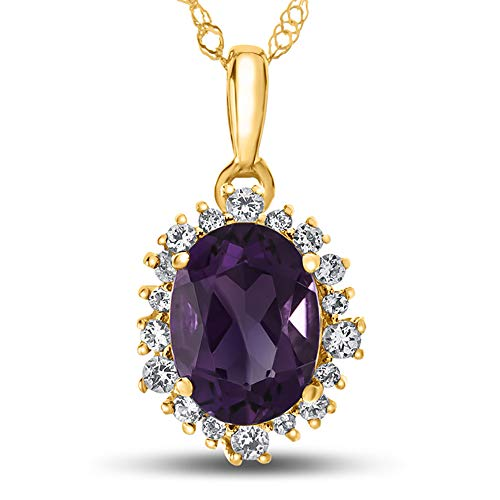 - Finejewelers 10k Yellow Gold Oval Amethyst with White Topaz accent stones Halo Pendant Necklace
