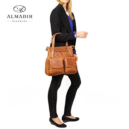 ALMADIH Leder Damentasche M24 aus Rindsleder - Handtasche Henkeltasche Schultertasche Ledertasche Tasche Umhängetasche braun Vintage