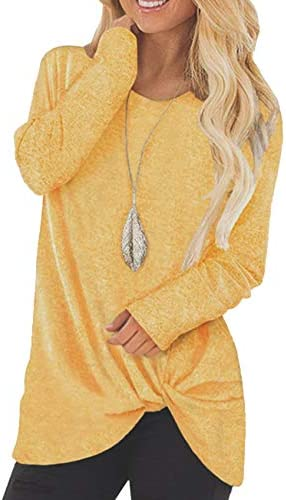Ubrand Women's Casual Crew Neck Twist Knot Tunic Tops Loose Fitting T Shirts Pullover Blouse for Women