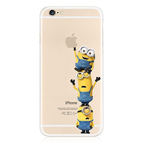 Cartoon Movie Character Themed Fan Art CLEAR Hybrid TPU Surround with Hard Back Cover Case for iPhone Range - Castle Themed (Minion 2, iPhone 6/6s Plus (5.5 inch ))