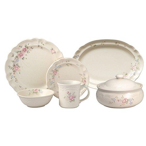Pfaltzgraff Tea Rose Service for 8 Dinnerware Set with Serveware