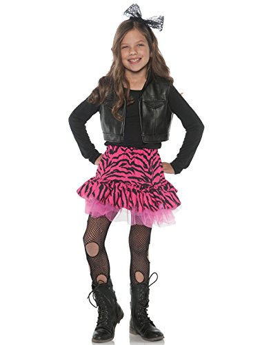 (Little Girl's 80's Retro Flashback Valley Girl Zebra Rocker Costume - Medium)