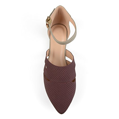 Journee Collection Womens Two-tone Pointed Toe Ankle Strap Flats Wine NP8BJ