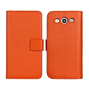 KCASE Cowskin Wallet Card Pouch Flip Leather Etui Stand Case Cover For Samsung Galaxy S3 I9300 Orange
