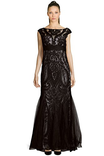 Teri Jon Embellished Lace Cap Sleeve Evening Gown Dress