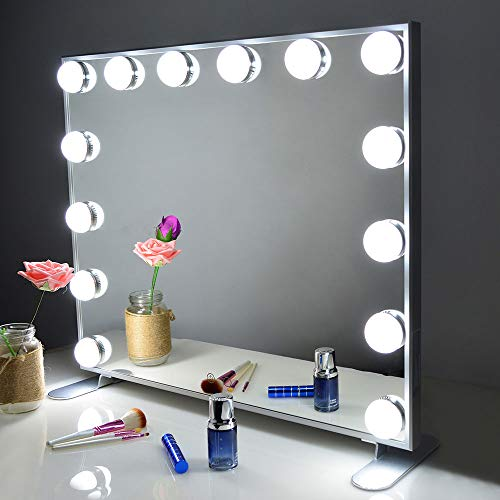 Vanity Mirror with Lights,Hollywood Lighted Mirror with Dimmer bulbs,Tabletop or Wall Mounted Vanity Makeup Mirror Smart Touch Control (Silver) BEAUTME - Lighted Vanity Mirror
