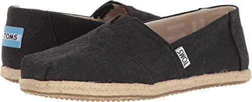 (TOMS Women's Seasonal Classics Black Washed Canvas Rope Sole Loafer)
